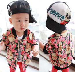 Wholesale Skull Printed Coat Child Clothing Boys Cute Flower Jacket Children Outwear Kids Leather Jackets Boys Clothes Fashion Casual Coat Baby Jacket
