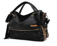 Wholesale 2013 fashion new handbags for womens high quality designers black punk PU genuine leather sequin purses leopard
