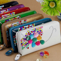 Wholesale fashion cute bling wallets for womens ladies PU flat purses high quality genuine leather flower designer