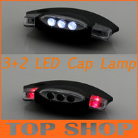 Wholesale 3 Red light and White light LED Camping Clip On Cap Hat FlashLight Light Cap LED light
