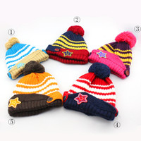 Wholesale 15 Set warm up beret Hat scarf shawl Smile stars knitted wool woolen For baby children from to month spring autumn winter