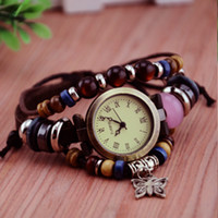 africa trees - 2013 New lady Roman Butterfly round dial Tree leaf charm Weave bracelet Africa Designer women fashion leather quartz wrist watch no logo