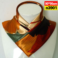 Silk Large square 50CM-90CM Leaves large square simulation trace towel oversized scarves shawls wholesale satin Korean n39