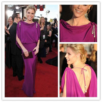 Sheath/Column Modern Beads 2013 Hot Custom Made Robe de star Julie Bowen col drapé dos ouvert en mousseline de soie k20