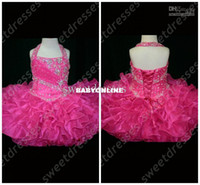 Wholesale Halter Top Little Rosie Cupcake Dress Lovely Little Rosie hot pink Glitz Toddler Pageant Dress OX582
