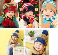 Wholesale 15 warm up beret Hat scarf shawl Smile stars knitted woolen Yarn For baby children from to month spring autumn winter