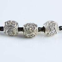 Copper Alloy barrel plating - 100pcs White rhinestone Crystal Flower Pistil Barrel Charm Big Hole European Beads Fit Bracelet Finding
