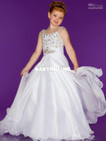 Wholesale Beaded Strap Sugar Little Pageant Dress Stunning Long Rhinestone white Little Girl Pageant S