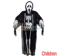 Wholesale Halloween Costume Party Kid s Horror Ghost Skeleton Style Clothes amp Skull Mask amp Skeleton Style Gloves Black