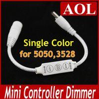 Wholesale 5pcs V W Ultra Slim Mini Portable Single Color LED StripTape Controller Dimmer keys DC plug for SMD Strip Light