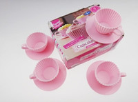 Wholesale NEW product pink color cm Cup cm ssaucer set of Silicone Teacup cake baking mold sets bakeware