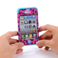 Cheap 3 in 1 leopard print case for Iphone 4