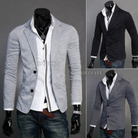 Men Waist_Length Cotton blend New Mens Design Casual Two Button Knit Jackets Coat Blazer Suit