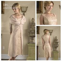 american green tea - American Style Square Champagne Lace Sheath Tea length Sexy Mother Of The Bride Dresses