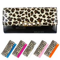 Wholesale Luxury Ladies Women Patent Pu Leather Leopard Imitation Pearl Long Purse Wallet