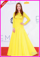 Wholesale Fashion th Emmy Awards Red Carpets High Collar Yellow Long sleeves Long Chiffon Celebrity Evening Dresses Prom Pageant Dress Gowns
