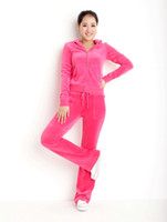 Wholesale Best Quality Ladies g sm Velvet Tracksuits Brand Velour suit Yoga hood jacket n pants in FUSHIA slim casual fit trouser