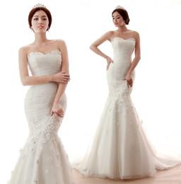 Wholesale 2013 High Quality Sweatheart Organza with Flowers Mermaid Chapel Train Ruffle Bridal Vintage Mermaid Wedding Dress