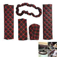 Wholesale 5 in Car Handbrake Gear Shift Seat Belt Rearview Mirror PU Leather Cover Set Black Red