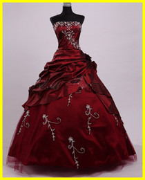 Wholesale Hot Sale Embroidery Beads Sequins Pleats Bodice Pick up Skirt Ball Gown Strapless Sleeveless Floor Length Burgundy Taffeta Quinceanera Dress