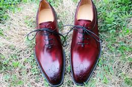 Men Dress shoes Oxfords shoes Custom handmade shoes Square toe Genuine calf leather Color Burgundy HD-205