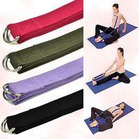 "Yoga Hair Bands   Lowest Price 200 pcs lot 67"" 6FT Yoga Stretch Strap D-Ring Belt Figure Waist Leg Fitness Exercise Gym #2281"