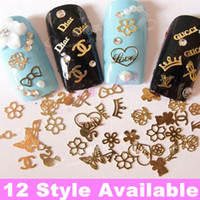 1000pcs pack One Style, 12 Style Available Gold Nail Art Met...