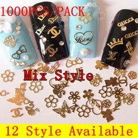 Wholesale HJSP pack Mix Style Style Available Gold Nail Art Metal Sticker Decoration Metallic Sticker