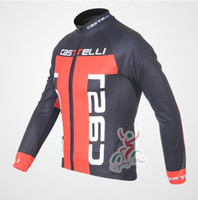 Tops Men Polyester Cycling Jersey CASTELLI Red T Cycling Long sleeve bike jersey men's bicycle wear Fleece Thermal Available maillot Tour de France