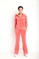 Wholesale Best Quality Ladies Velvet Tracksuits Brand autumn n winter suit in g sm velour PINK Sportswear include jacket n pants