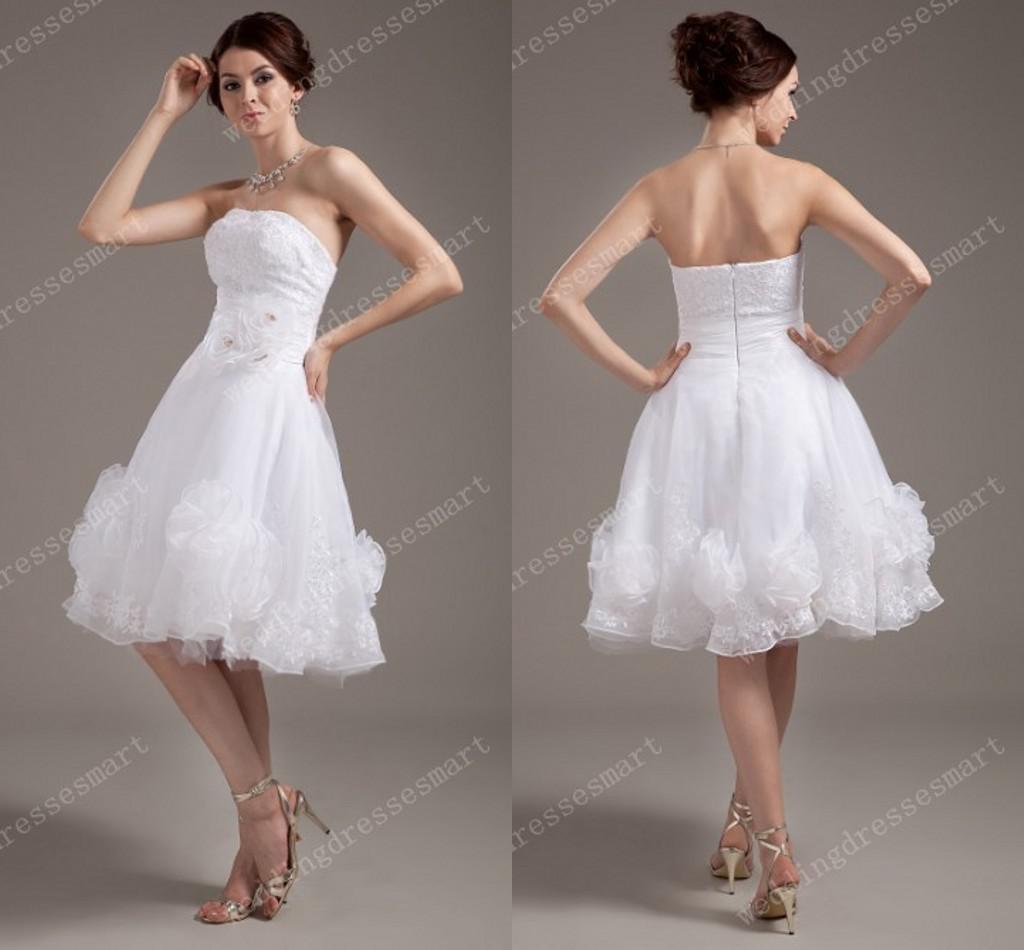 2014 knee length short beach wedding dresses strapless for Knee length beach wedding dresses