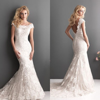 Wholesale Vintage fashion elegant off shoulder cap sleeve court train organza applique charming mermaid lace backless bridal wedding dresses