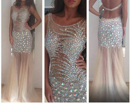 Best selling 2019 Sexy inspired rhinestone beaded tulle champagne Prom Dresses full length Evening dresses