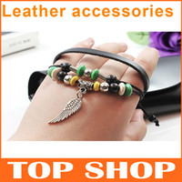 Leather bracelet Fashion Bracelet Angel wings bracelet ZB001...