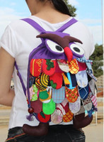 Wholesale ZJ color women large Bags handmade cotton Creative Christmas gift Fabric owl Backpacks schoolbag cm
