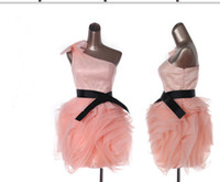Wholesale Muti Colors Short Prom Dresses One Shoulder Organza Dress with Black Belt Cocktail Dresses Prom Dresses Backless Party Dresses
