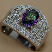 Wholesale Rainbow Mystic stone and White Cubic Zirconia jewelry Fashion Silver RING Romantic R785 sz