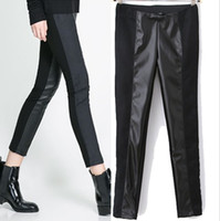 Women Skinny,Slim Capris Spring Autumn New Fashion Women's Leggings European and American style Splice leather Individuality Pure color Leggings