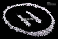 Wholesale Twinkle Plated crystal wedding bridal jewelry sets rhinestone Allloy plated necklace and earrings piece SJF240 Sample in free