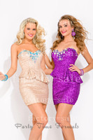 Wholesale 2013 Fall Cocktail Dresses Sweetheart Sequin Short Dress with Rhinestones Slanted Peplum and Zip up Back Homecoming Dresses PT