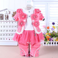 Unisex baby outings - Hot Sale New Children s Outfits baby sets baby three pieces set ittle girls three piece casual outing children sets baby suit