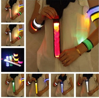 Wholesale Multifunction LED Wrist Pat Circle Snap Ring Warning Light Sport Armlet Band Wrist Band Ribbon Cheer Props Flash Colorful Holiday Party Toys