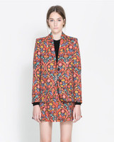 Women Waist_Length Cotton Spring and autumn new printed floral jacket european style cylinder short zipper type women's cotton Suit coat (Suits and Skirt)
