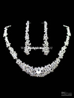 925 Sterling silver Crystal Sets Wholesale - Concise White Beaded Diamond Wedding Earring Necklace Jewelry Set #u6-P9g