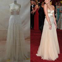 venda por atacado miley cyrus-Inspirado por Miley Cyrus 82 Oscar Awards Nude Moda vestidos de celebridades Querida A linha de vestidos de lantejoulas Tulle com colar gratuito: Pearl