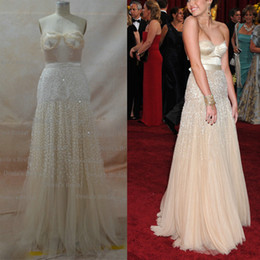 Wholesale Inspired by Miley Cyrus nd Oscar Awards Nude Fashion Celebrity Dresses Sweetheart A Line Sequins Tulle Gowns with Free Pearl Necklace