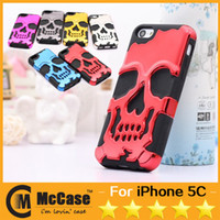 Wholesale Robot Case For IPHONE5C Skull Skeleton Bone Chrome Rubber Hybrid TPU Electroplate PC Hard Cases For Apple IPHONE C Anti shock Colors