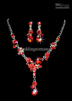 925 Sterling silver Crystal Sets Wholesale - Red Metal Lobster Claw Clasp Rhinestone Earclip Jewelry Set For Bridal #u6-1ep6