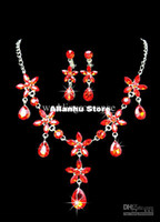 925 Sterling silver Crystal Sets Wholesale - Red Metal Lobster Claw Clasp Rhinestone Earclip Jewelry Set For Bridal #u6-1eoK