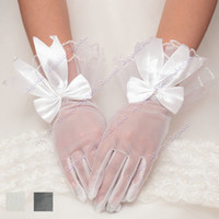 Wholesale New Lady Party Dress Prom Wedding Bridal Opera Waist Lace Bowknot Gloves Colors